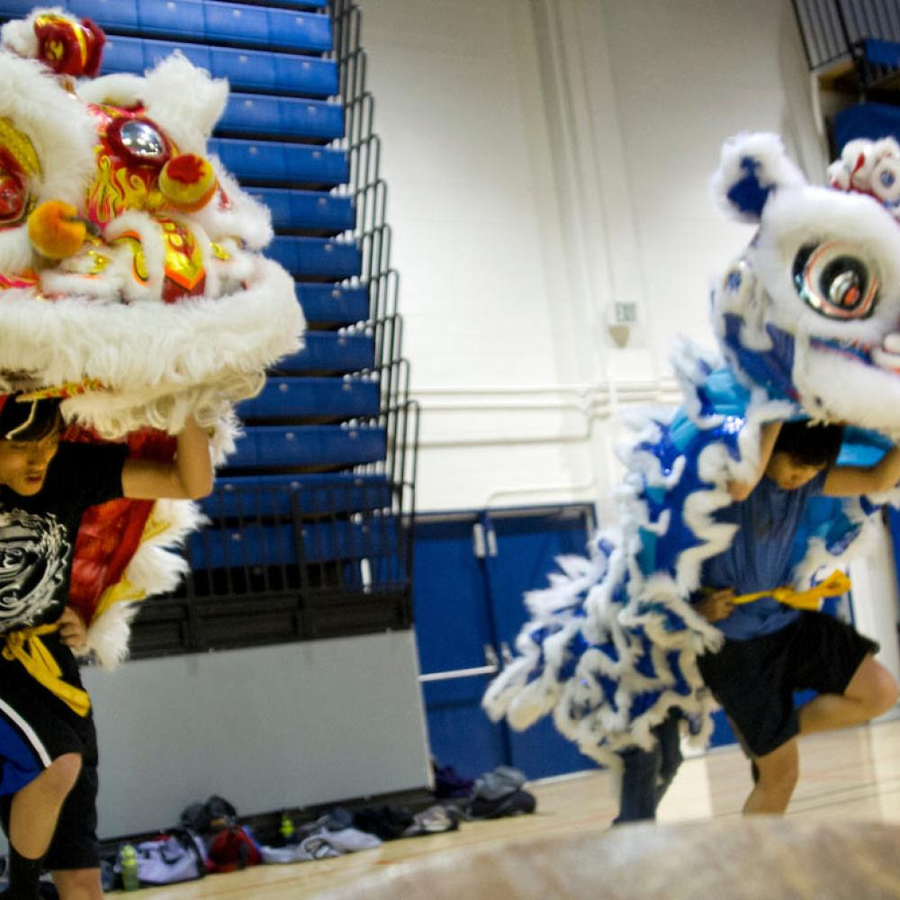 "Several students practice the traditional Chinese ""Lion Dance"""