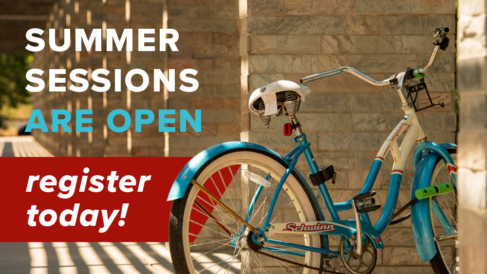 Summer Sessions are open register today! A bike is pictured