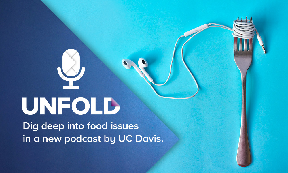 Unfold podcast a fork with earphones wrapped around it