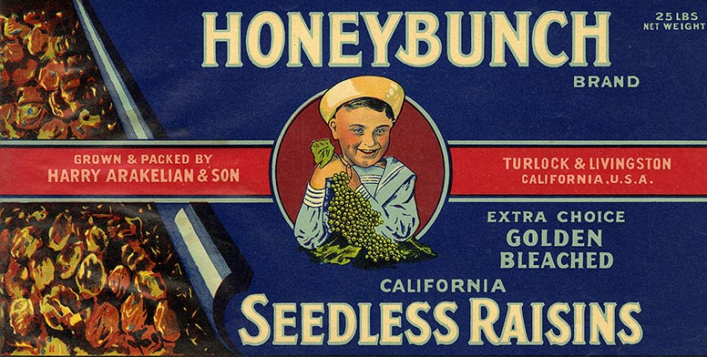 A label promoting honeybunch raisins