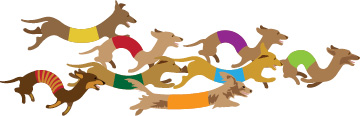 Graphic of many colored dachshunds running