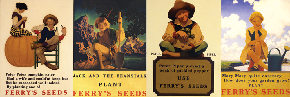 Four illustrations of children with vegetables