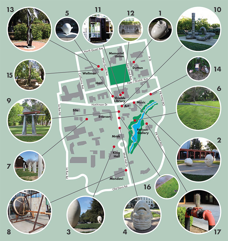 Map of the UC Davis campus with pieces of art around the perimeter and numbers