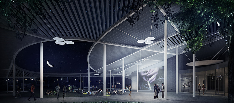Rendering of a night scene of a museum canopy and people walking about
