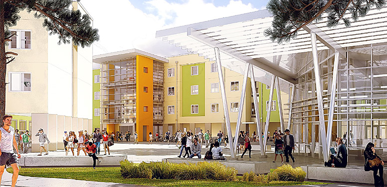 Rendering of student residence halls