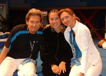 Movie star Jeff Bridges (left), Aggie athlete Tiffany Chan (center) and Svetlana Efremova