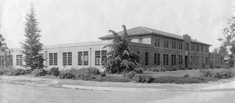 Black and white photo of Walker Hall from many years ago