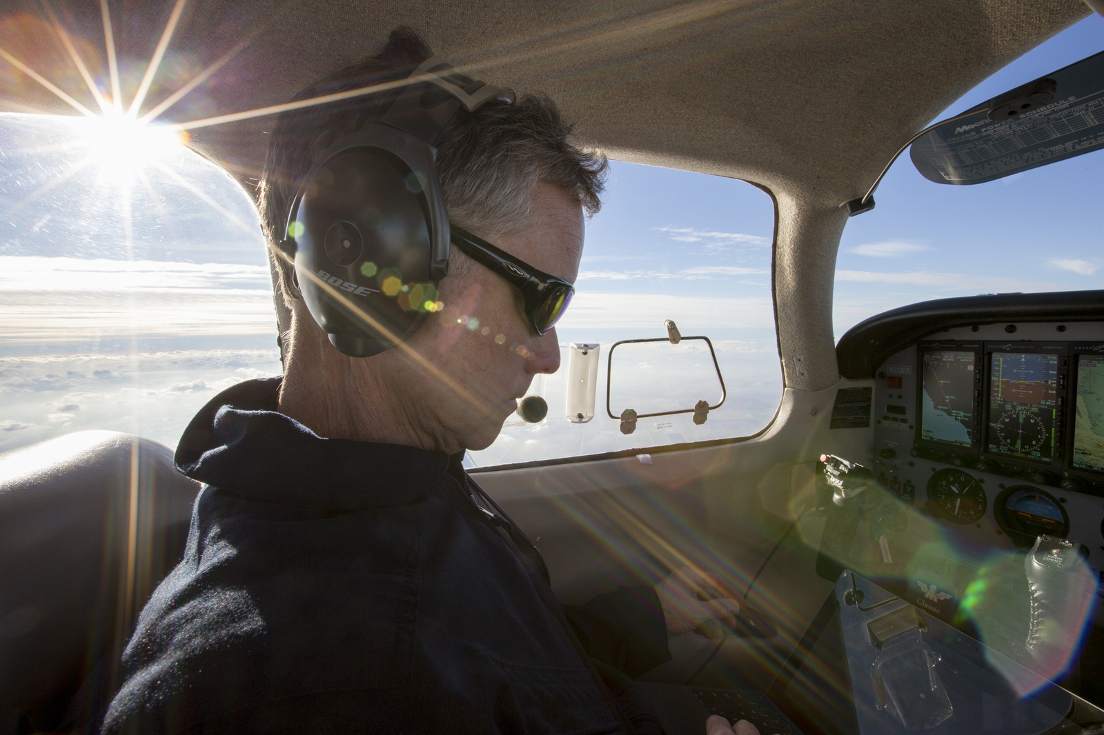 Pilot and UC Davis project scientist Stephen Conley looks at methane emission data from the Aliso Canyon Natural Gas Storage Facility leak. Conley, flying in a pollution-detecting airplane, provided the first estimates of methane emissions spewing from the Southern California leak.