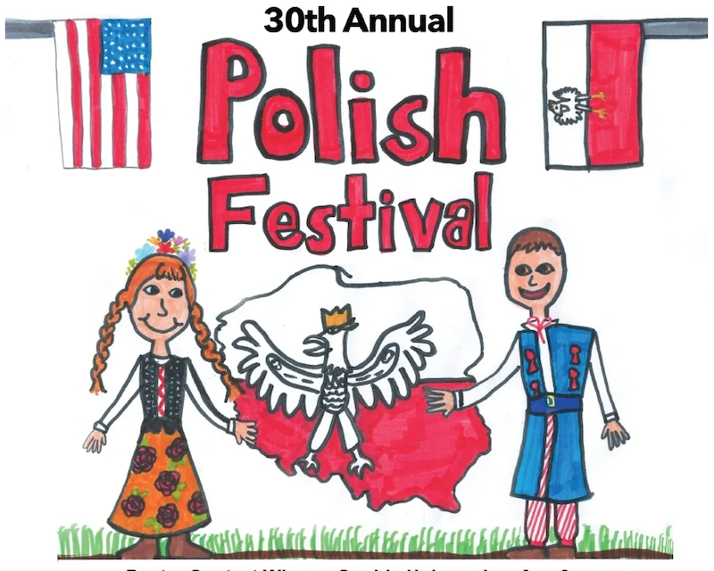 A promotional graphic drawn by a child depicting the Polish flag and a mand an woman wearing traditional Polish attire.