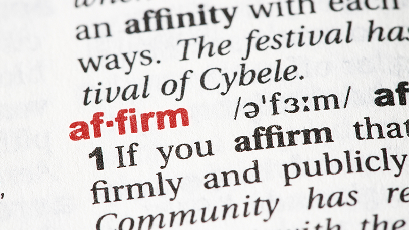 the word affirm on dictionary page