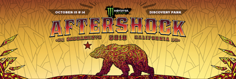 Monster Energy Aftershock promotional graphic showing a California black bear.