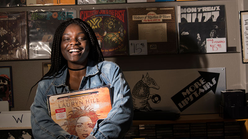 A woman in a record store