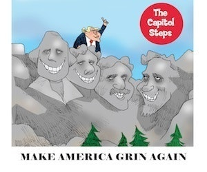 A cartoon drawing of Mount Rushmore with President Trump climbing on top.