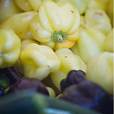 white and purple bell peppers