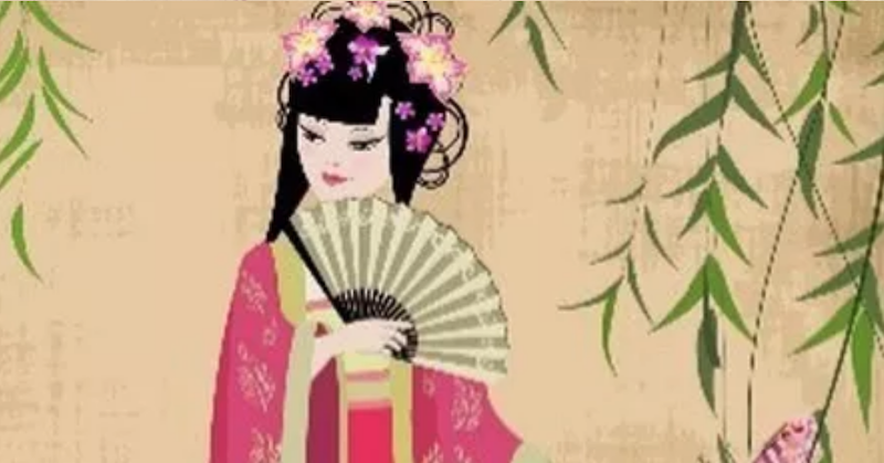 A promotional graphic for the fashion show showing a tradition Chinese painting.