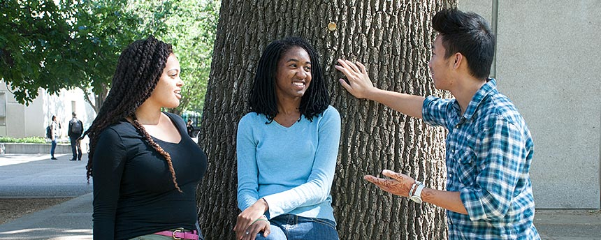 Two African American women and an Asian American man talking with a tree behind