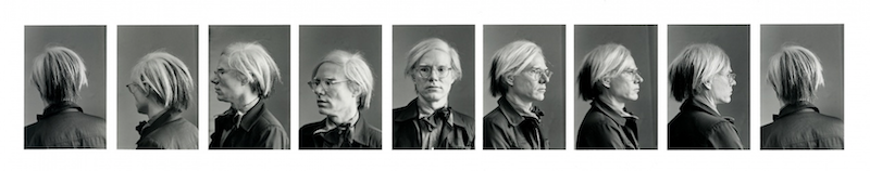 A series of portraits of Andy Warhol taken from 360 degreed around him.