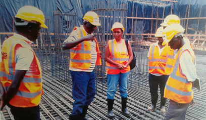 Six people at a construction site