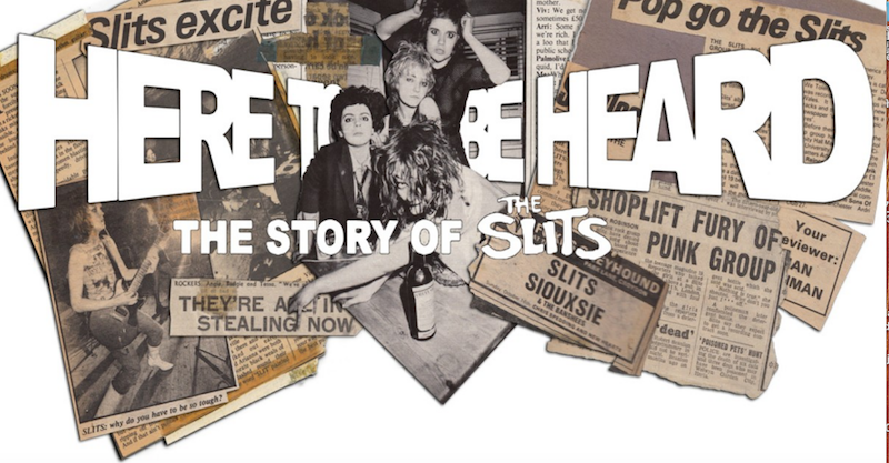 An image of members of the Slits, surrounded by newspaper clippings of stories about the band.