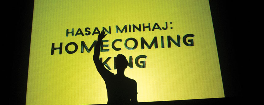 "Hasan Minhaj onstage in ""Homecoming King"""