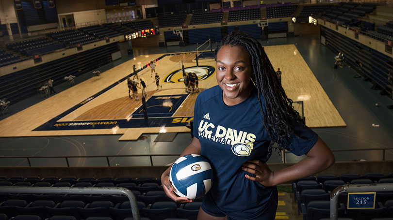 Kelechi Ohiri above a volleyball court