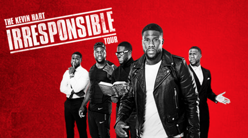 A promotional photo of Kevin Hart superimposed over a red background.