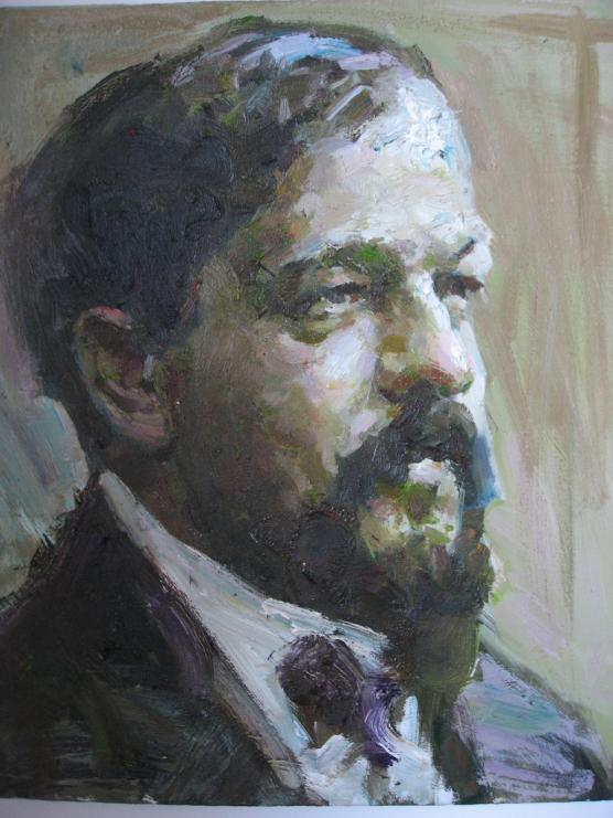 A painted portrait of Debussy.