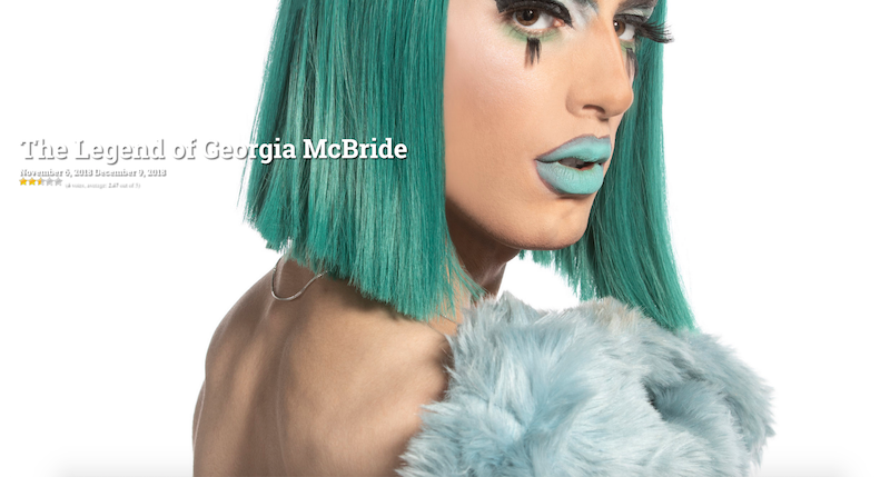 Promotional photo of drag queen Georgia McBride, wearing a green wig and green lipstick.