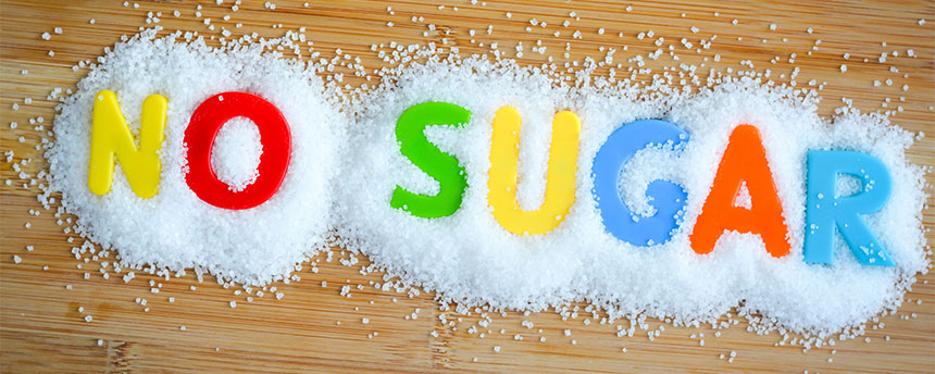 "Colorful letters read ""No Sugar."""