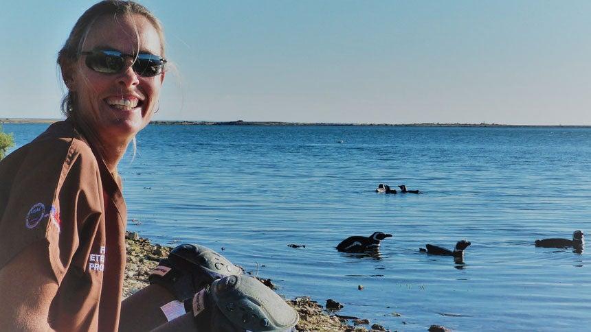 Dr. Marcela Uhart with penguins