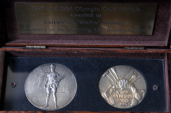 Slater's Olympic gold medals in a case