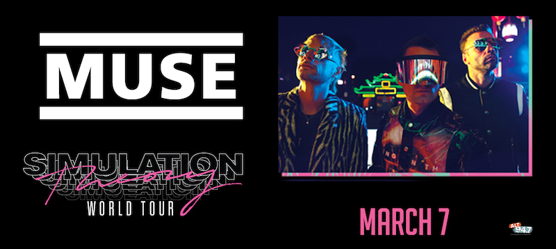 A promotional graphic for the tour, showing the three members of Muse.
