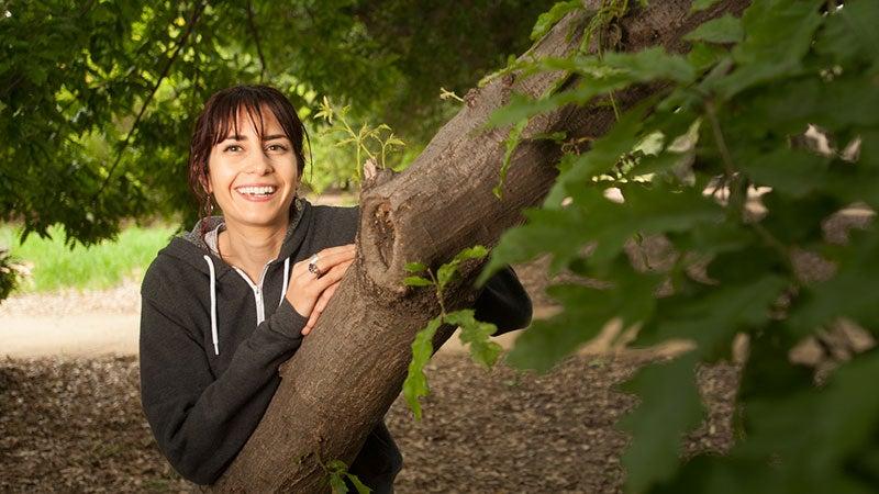 A woman in the UC Davis Arboretum