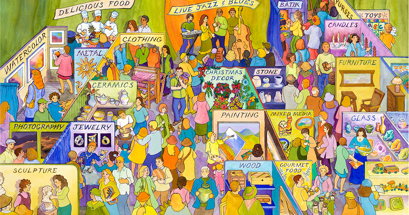 An illustration of all the attractions at the Sacramento Art Festival.