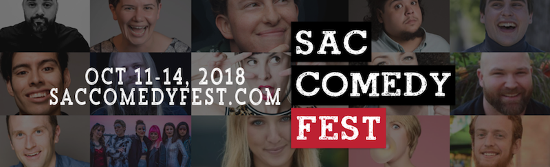 Promotional graphic for the Sacramento Comedy Festival shwoing a matrix of photos of individual comics performing at the festival.