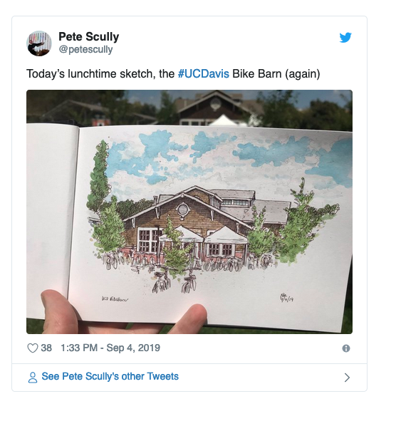 Tweet of Bike Barn Sketch