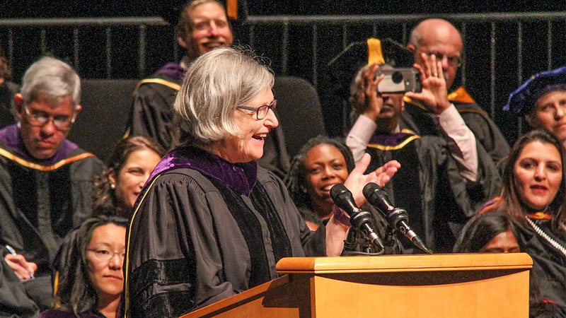 Sister Simone Campbell speaks at commencement