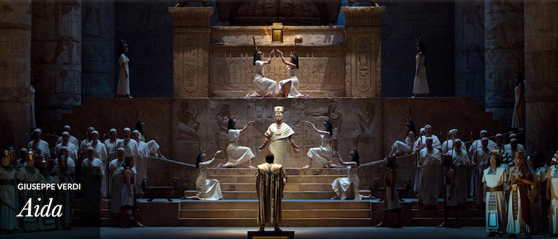 A photo of the Met's production of Aida.