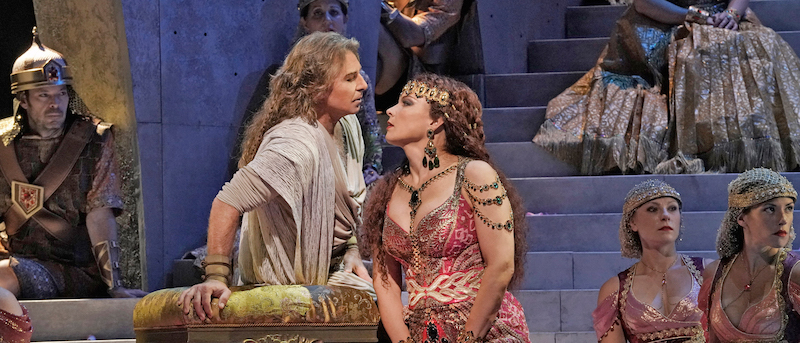 Samson and Delilah on stage in a Met production.