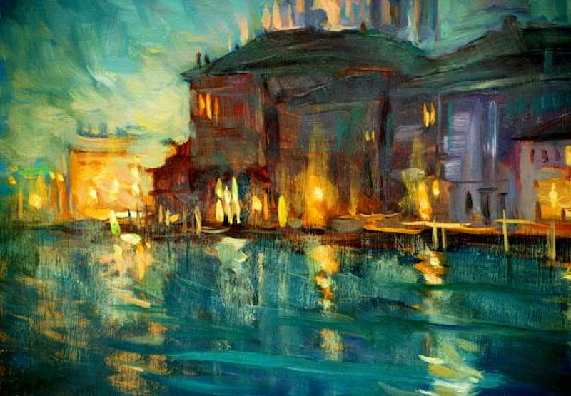 An oil painting of an Italianate building on the water.