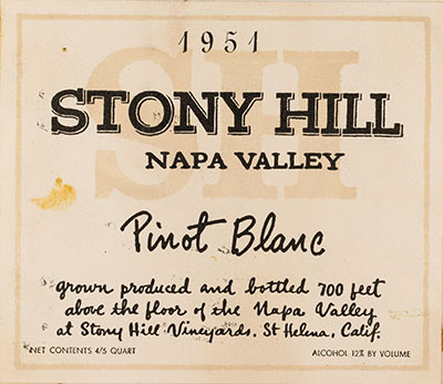 Stony Hill wine label