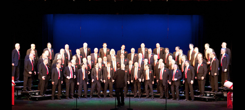 The choral group on stage.