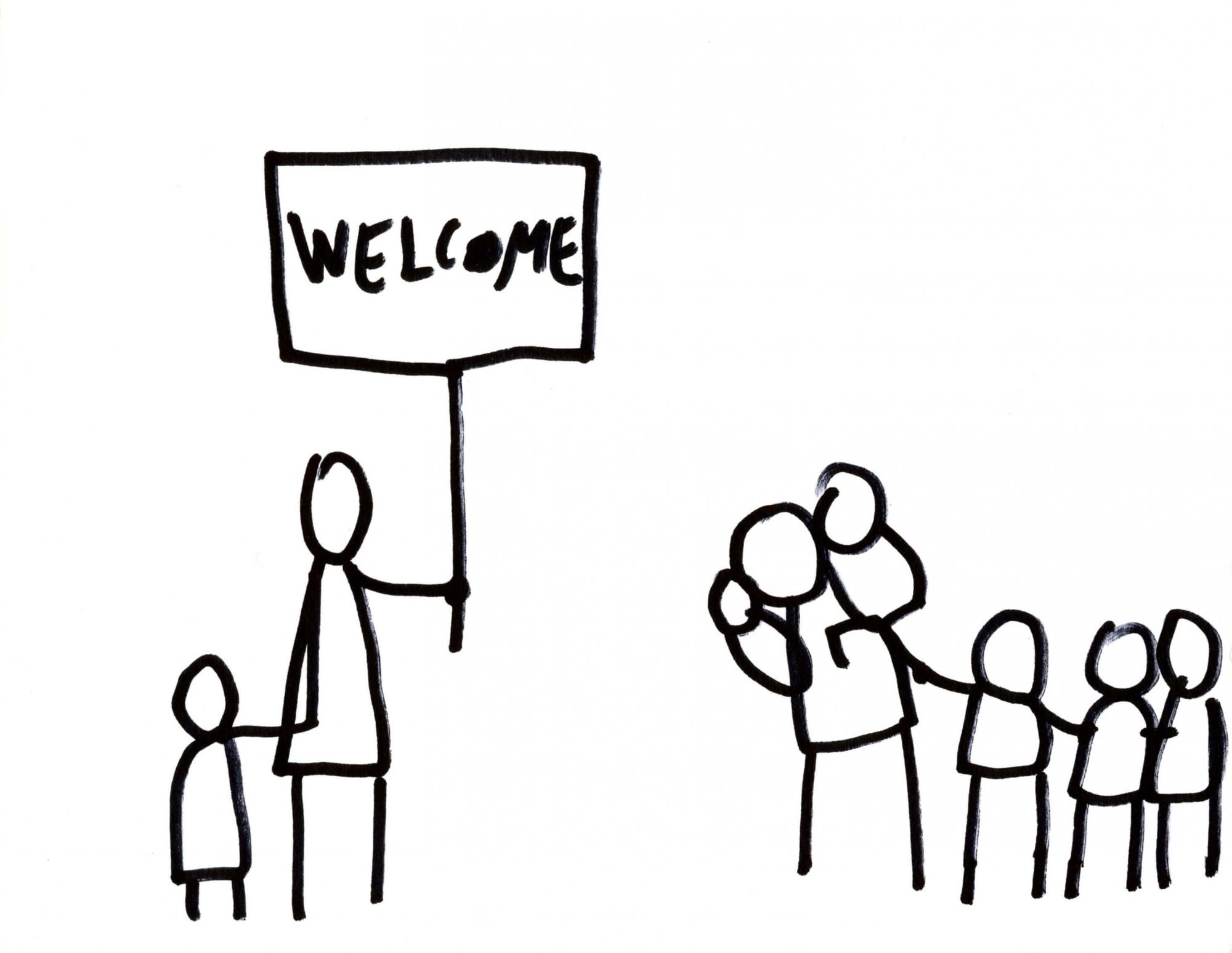 "Stick figure drawing depicting and adult and child stading on the left and holding a sign saying ""Welcome!"" and an adult and four children (one of them on the adult's back) walking toward the other two."