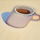 painting of coffee cup by Wayne Thiebaud