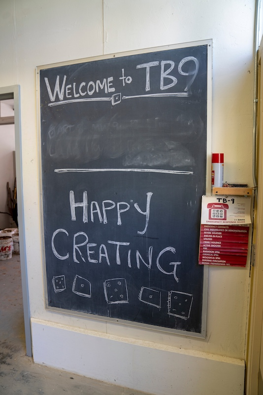 chalkboard sign reading Welcome to TB9 Happy Creating