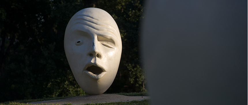 """One of two sculptures of the """"See No Evil Hear No Evil"""" Eggheads"""